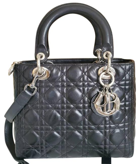 Item - Lady Christian Cannage Black Leather Tote
