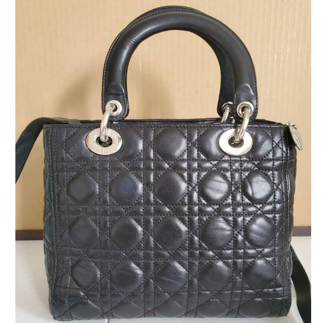 Dior Lady Christian Cannage Black Leather Tote Dior Lady Christian Cannage Black Leather Tote Image 7