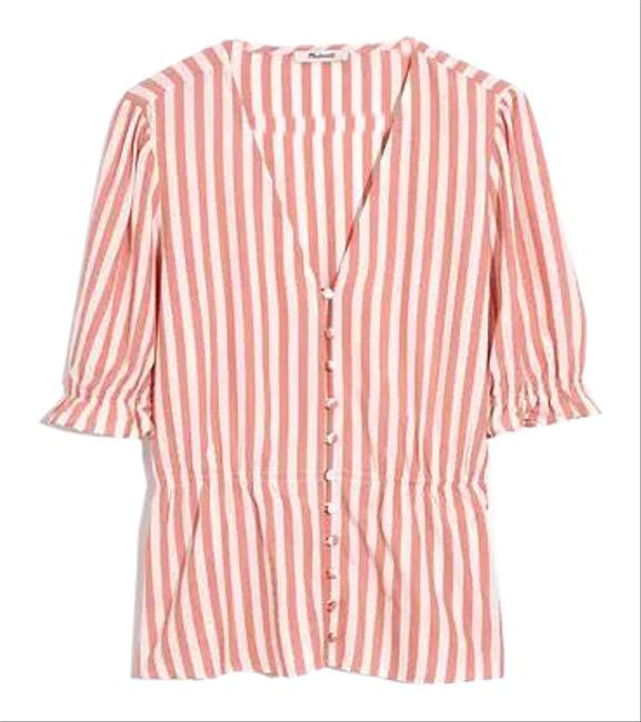 Madewell Neat Stripe Dried Coral Al498 Blouse Size 8 (M) Madewell Neat Stripe Dried Coral Al498 Blouse Size 8 (M) Image 1