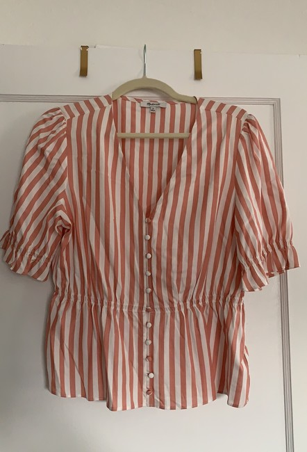Madewell Neat Stripe Dried Coral Al498 Blouse Size 8 (M) Madewell Neat Stripe Dried Coral Al498 Blouse Size 8 (M) Image 2