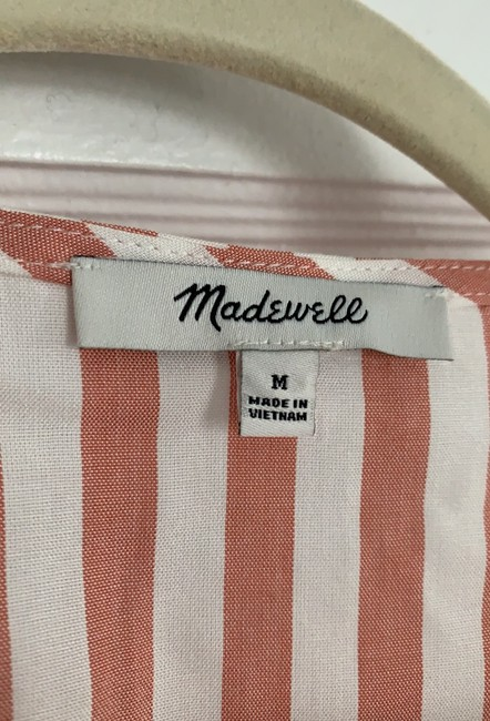 Madewell Neat Stripe Dried Coral Al498 Blouse Size 8 (M) Madewell Neat Stripe Dried Coral Al498 Blouse Size 8 (M) Image 3