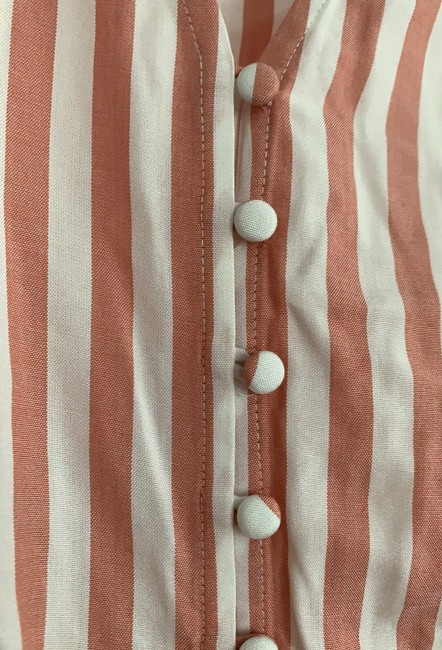 Madewell Neat Stripe Dried Coral Al498 Blouse Size 8 (M) Madewell Neat Stripe Dried Coral Al498 Blouse Size 8 (M) Image 4