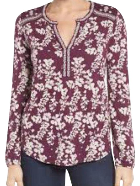 Item - Purple White Maroon Embroidered Popover Blouse Size 6 (S)