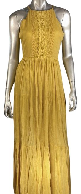 Item - Yellow Halter Embroidered Long Casual Maxi Dress Size 4 (S)