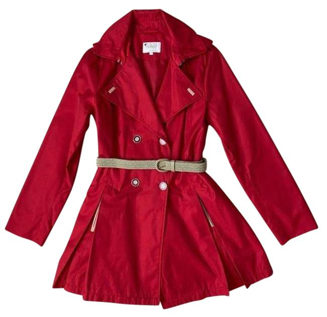 Item - Red Tan Pleated Belted Jacket Coat Size 14 (L)