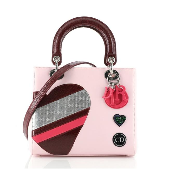 Item - Lady Valentine's Day Heart with Textured Pink Red Leather Patent Leather Satchel