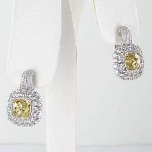 Judith Ripka Judith Ripka Isabella Earrings Canary White Sapphire Sterling Silver