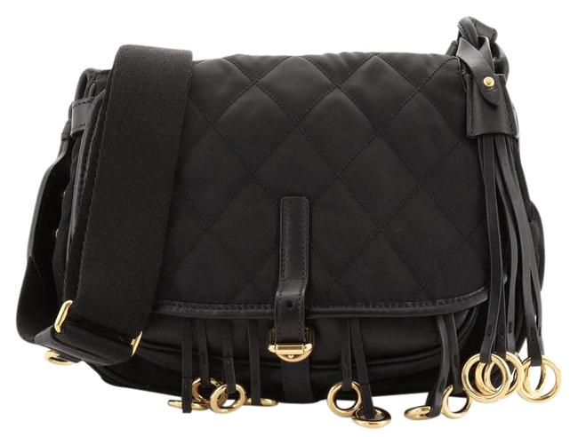 Item - Corsaire Quilted Nylon and Calfskin Black Fabric Leather Messenger Bag