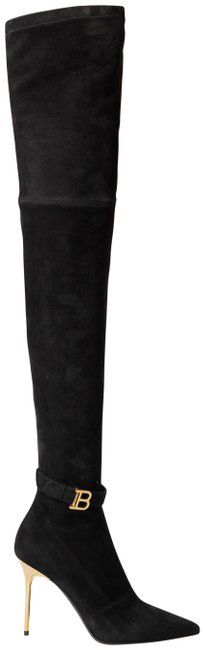 Item - Black Raven Logo-embellished Stretch-suede Over-the-knee Boots/Booties Size EU 38.5 (Approx. US 8.5) Regular (M, B)