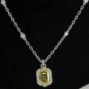 Judith Ripka Judith Ripka Cushion Necklace Yellow Quartz White Sapphires 18k Yg 925