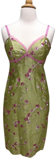 Item - Green/ Pink Embroidered Silk Taffeta Mid-length Cocktail Dress Size 0 (XS)
