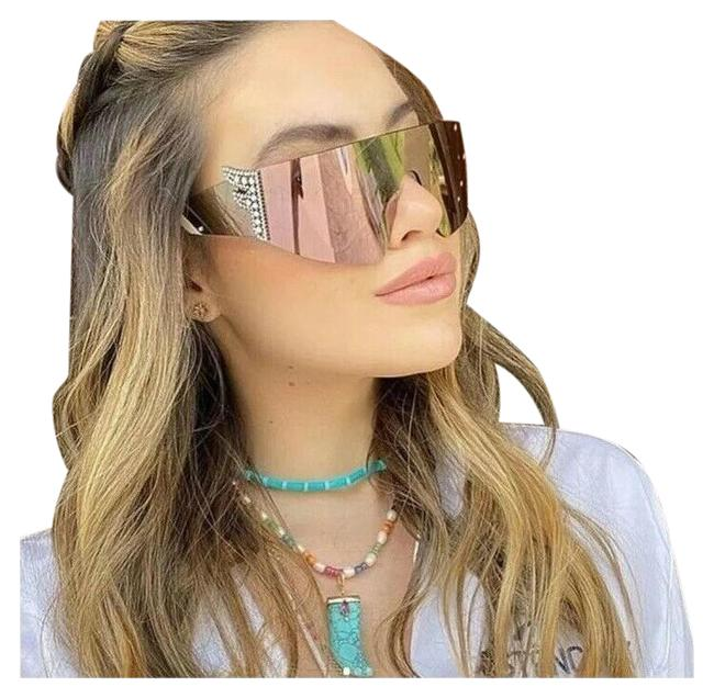 Item - Pink   Rose Gold Freedom Ff 0382/S Crystal Shield Mirror Sunglasses