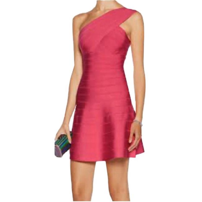 Item - Pink XS Hot One Shoulder Bodycon Bandage Stretch Short Night Out Dress Size 0 (XS)