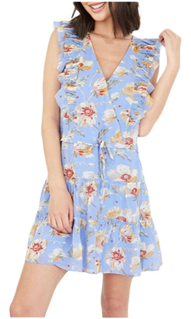 Item - Blue Floral Short Night Out Dress Size 4 (S)