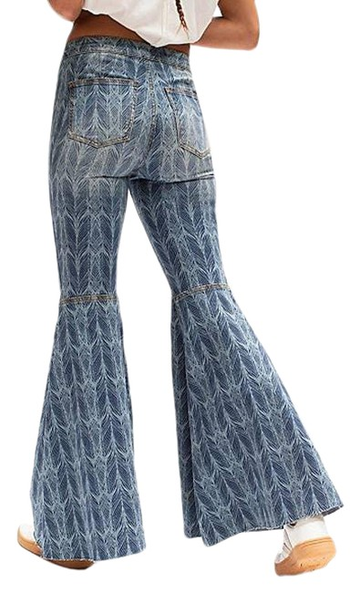 Item - Blue New We The Just Float On Printed Lost At Sea Flare Leg Jeans Size 26 (2, XS)