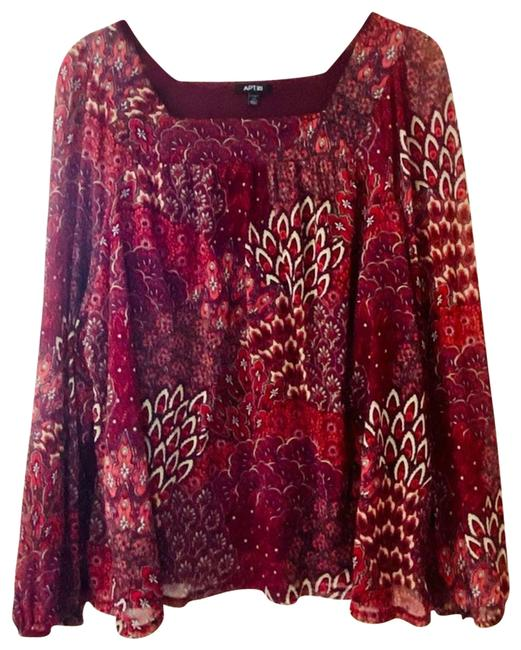 Item - Red Peacock Style Patterned Burgundy 2x Blouse Size 22 (Plus 2x)