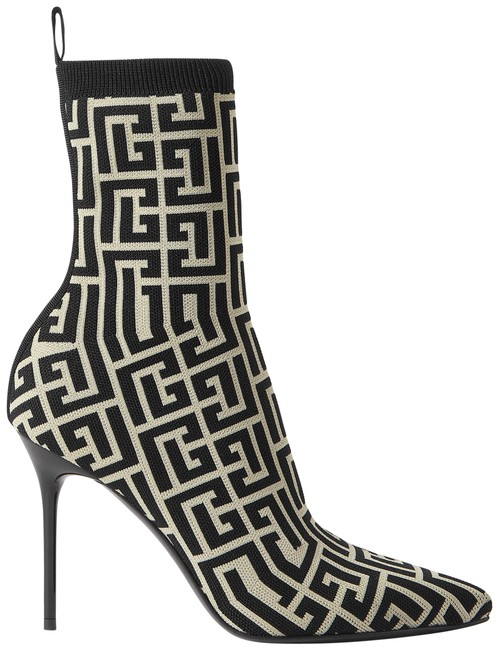 Item - Black Skye Logo-detailed Stretch-knit Ankle Boots/Booties Size EU 37 (Approx. US 7) Regular (M, B)