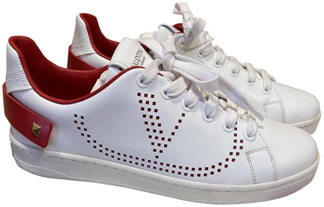 Item - White and Red Backnet Sneaker Flats Size EU 36 (Approx. US 6) Regular (M, B)