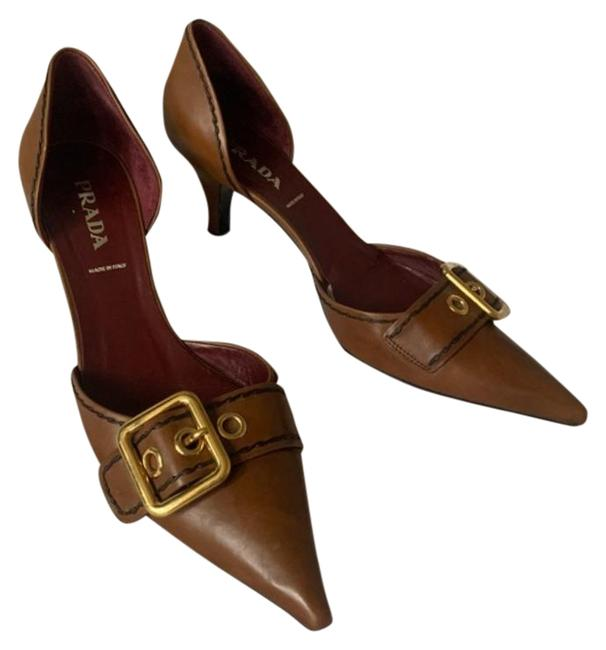 Item - Brown D'orsay Leather Buckle Pointed Toe Heel Pumps Size EU 39.5 (Approx. US 9.5) Regular (M, B)
