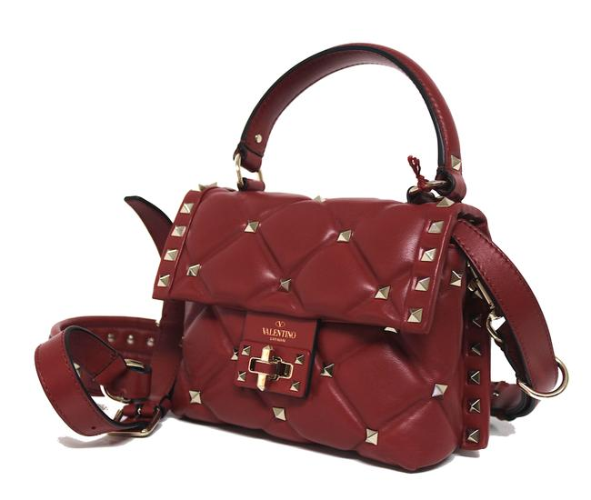 Item - Candy New Mini Rockstud Spike Quilted Red Leather Cross Body Bag