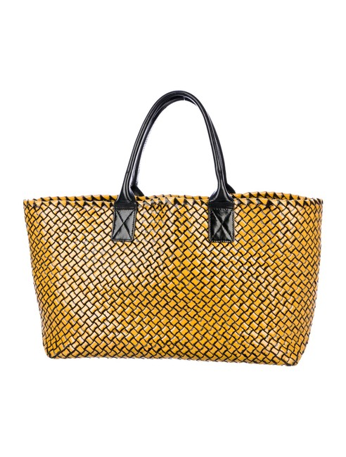 Item - Ny Cabat Limited Edition Gold and Black Leather Tote