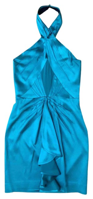 """Item - Blue Silk """"trickle"""" Halter Ruffle Flounce Fitted Sheath Short Cocktail Dress Size 6 (S)"""