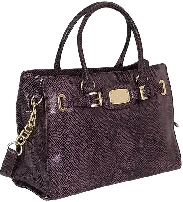 Item - Hamilton Large (New with Tags) Purple/Gold Snakeskin Leather Tote