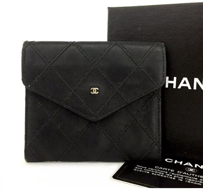 Item - Black Quilted Bicolore Cc Logo Lambskin Coin Purse Wallet