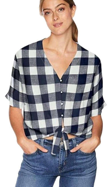 Item - Blue XS Thea Azure Check Short Sleeve Tie Button-down Top Size 2 (XS)