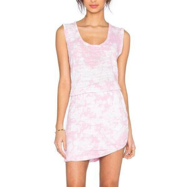 Item - Pink Womens Tie Dyed Sleeveless Scoop Neck Knit Stretch Short Casual Dress Size 12 (L)