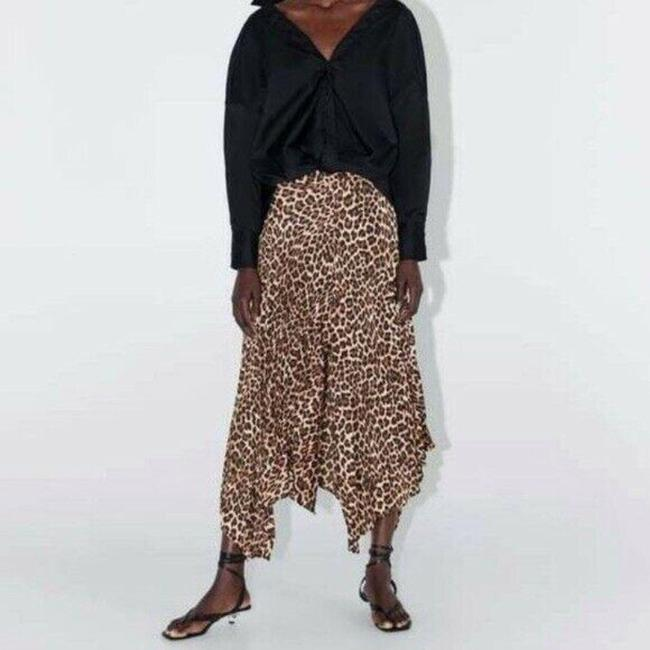 Item - Multicolor Womens Brown Leopard Pleated Asymmetrical Skirt Size 10 (M, 31)
