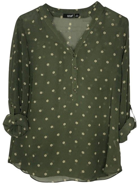 Item - Green Ana Olive Sleeve Sheer Blouse Size 8 (M)