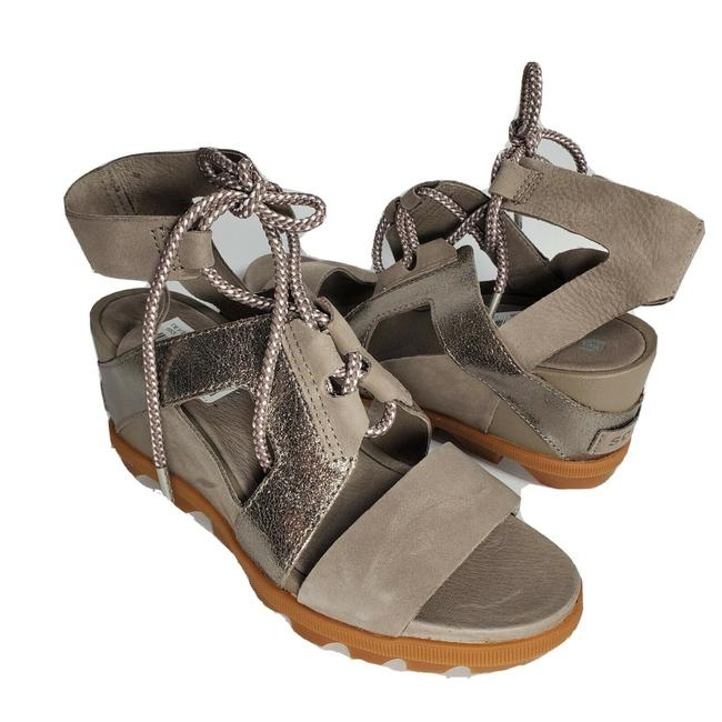 Item - Gray Taupe Joannie Ii Lace Wedge Sandals Size US 7 Regular (M, B)