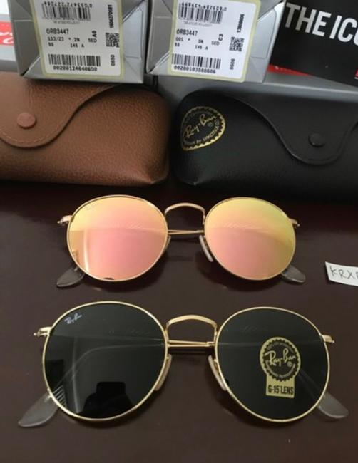 Item - Gold Frame / Copper Flash & Green Classic G-15 Lenses Round Metal Rb3447 001 112/Z2 50-21 Sunglasses