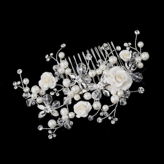 Elegance by Carbonneau Silver/Ivory Rose and Crystal Comb Hair Accessory