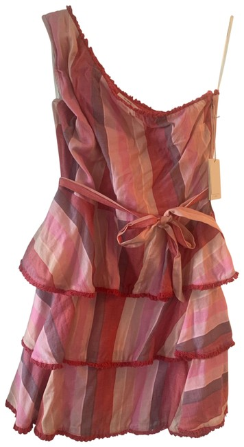 Item - Red Multi Striped Mid-length Short Casual Dress Size 12 (L)