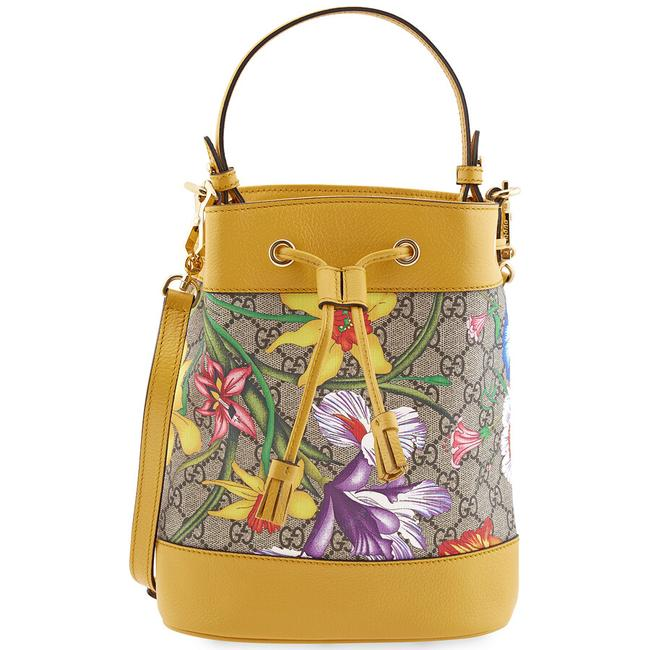 Item - Ophidia Bucket Gg Flora Pattern Small Yellow Leather Shoulder Bag