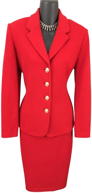 Item - Red Collection Knit Jacket Skirt Suit Size 6 (S)