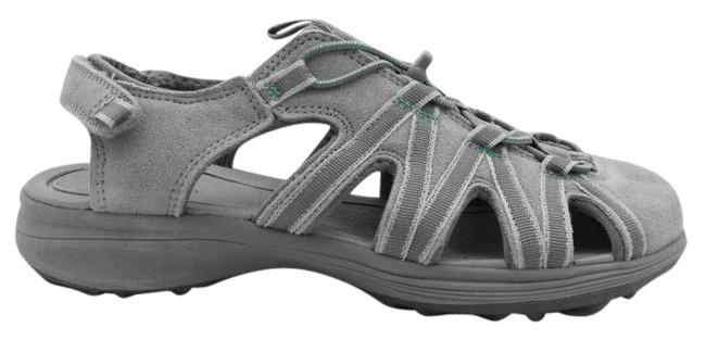 Item - Gray Womens Leather Adjustable Hook and Loop Sandals Size US 6 Regular (M, B)