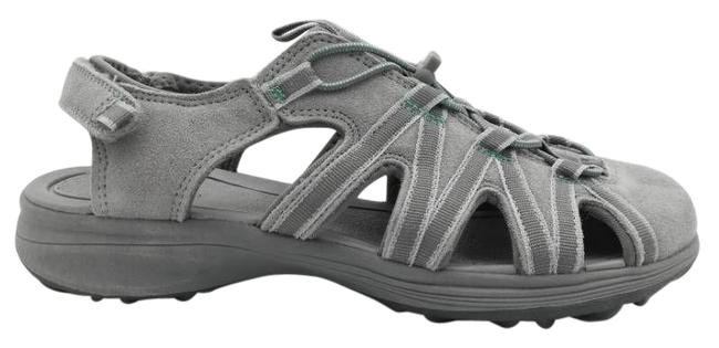 Item - Gray Womens Leather Adjustable Hook and Loop Sandals Size US 7 Regular (M, B)