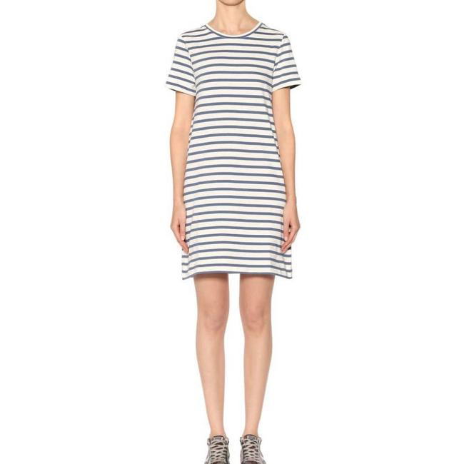Item - Cream Jersey Beckie Striped Cotton Tee Small Short Casual Dress Size 6 (S)