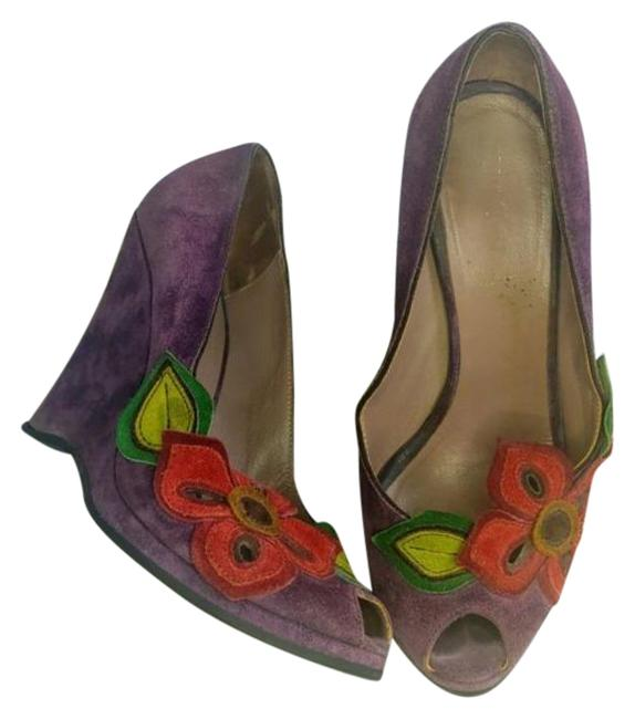 Item - Purple Red Suede Floral Wedges Size EU 37 (Approx. US 7) Regular (M, B)