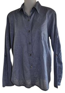 Chico's Button Down Shirt Blue with embroidery
