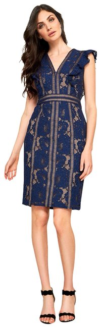 Item - Blue Ruffle Sleeve Corded Embroidered Floral Mid-length Cocktail Dress Size 14 (L)