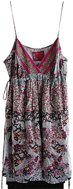 Item - Grey Pink Tapestry Embroidered Cami Or Dress Tunic Size 14 (L)