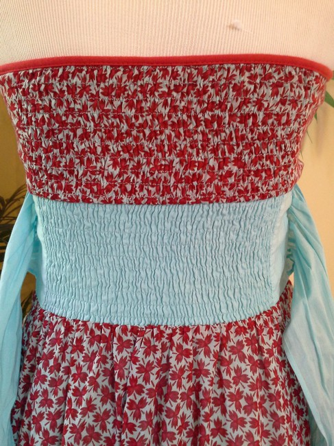 Free People short dress Aqua & Red on Tradesy