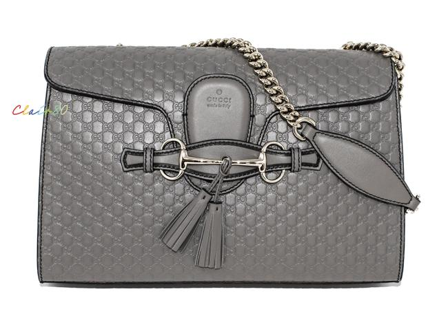 Item - Emily Medium Chain Grey Leather and Gg Leather Shoulder Bag