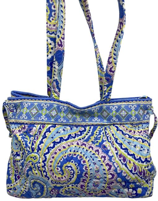 Item - Large Quilted Blue Purple Yellow White Shoulder Bag
