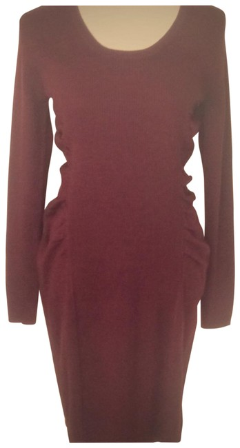 Item - Maroon Gathered Mid-length Work/Office Dress Size 8 (M)
