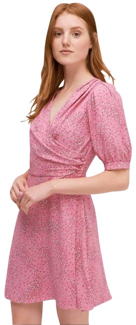 Item - Pink Meadow Floral Print Faux Wrap Fit & Flare Short Casual Dress Size 2 (XS)